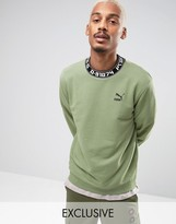 Puma High Neck Typo Crew Sweatshirt in Green 57443201