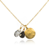 Satya Jewelry Gold Lotus, Labradorite & Black Onyx Necklace