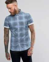 Asos Skinny Denim Shirt With Check In Bleach Wash With Short Sleeves