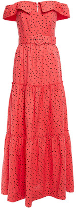 Rebecca Vallance Holliday Off-the-shoulder Polka-dot Linen-blend Maxi Dress