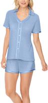 Hanes Blue Ditsy Dots Button-Up & Shorts Pajama Set