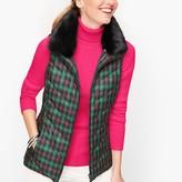 Talbots Down Faux Fur Collar Puffer Vest Tartan