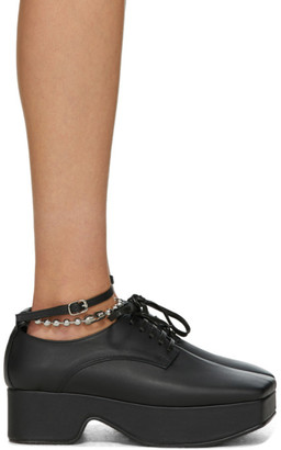 Flat Apartment Black Ankle Strap Platform Oxfords