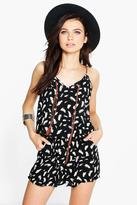 Boohoo Suzie Feather Print Playsuit With Plait Ties