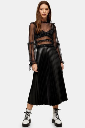 Topshop Black Faux Leather PU Pleat Midi Skirt