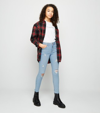 New Look Girls Bleach Ripped Skinny Jeans