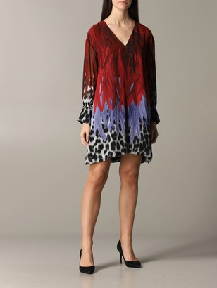 Just Cavalli Dress With Animal Print And Feathers