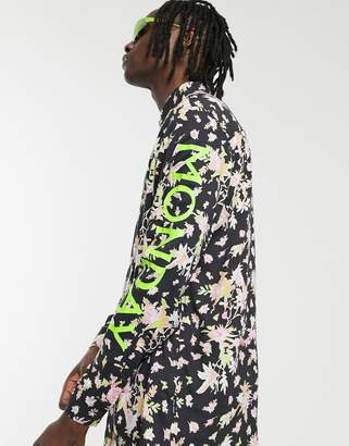 Cheap Monday floral shirt with neon lettering in black