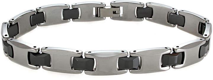 JCPenney FINE JEWELRY Mens Tungsten & Black Ceramic Link Bracelet
