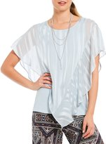 I.N. Studio Solid Short Sleeve Satin Stripe Lurex Popover Top