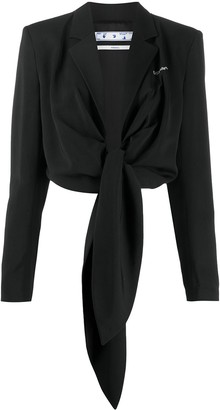 Off-White Tie-Front Cropped Blazer