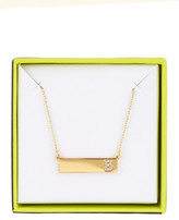 BaubleBar 14K Gold Plated Ice &B& Initial Bar Pendant Necklace