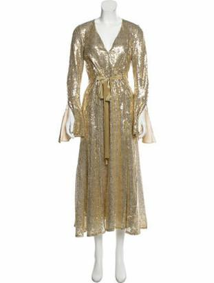 Prabal Gurung Sequined Evening Gown Gold