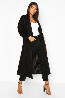 boohoo Tall Double Breasted Longline Wool Coat