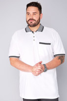 Yours Clothing BadRhino White Short Sleeve Polo Shirt With Black Pique Collar