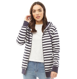 Board Angels Womens Striped Zip Through Hoodie Navy/White