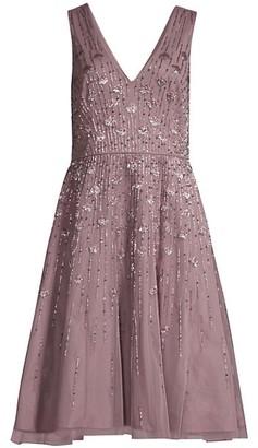 Aidan Mattox Embellished Fit & Flare Midi Dress