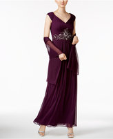 Alex Evenings Embellished Gown and Scarf