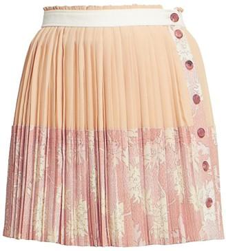 Chloé Pleated Floral Button Silk Mini Skirt