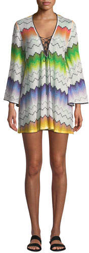 Missoni Mare Printed Lace-Up Long-Sleeve Short Coverup