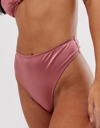 Asos Design DESIGN high shine high leg thong-Brown