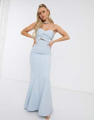 Jarlo Bridesmaid origami bandeau maxi dress in blue