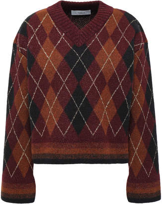 Pringle Metallic-trimmed Argyle Jacquard-knit Wool-blend Sweater