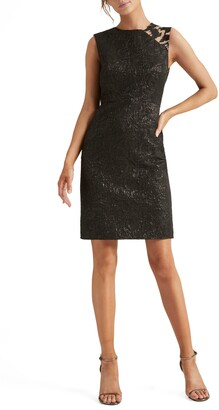 Halston Embellished Jacquard Cocktail Dress