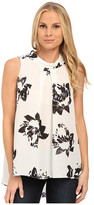 Vince Camuto Sleeveless Invert Pleat Mock Neck Floral Blouse