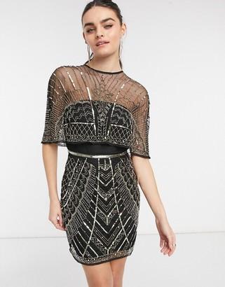 ASOS DESIGN embellished cape mini dress