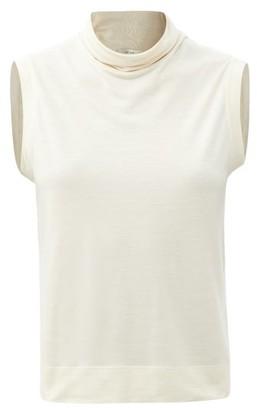 The Row Bokkai Roll-neck Sleeveless Jersey Top - Cream
