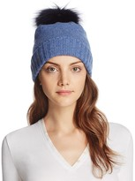 Bettina Cashmere Beanie with Fox Fur Pom-Pom