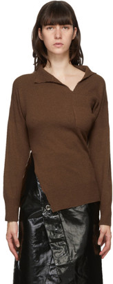 Marni Brown Cashmere Twisted V-Neck Sweater