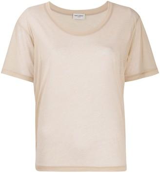 Saint Laurent scoop neck sheer T-shirt