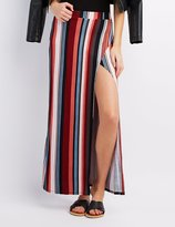Charlotte Russe Striped Wrap Slit Maxi Skirt