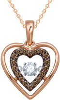 JCPenney FINE JEWELRY Love in Motion 1/5 CT. T.W. White & Champagne Diamond Rose Gold Heart Pendant