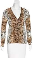 Dolce & Gabbana Leopard Pattern V-Neck Sweater