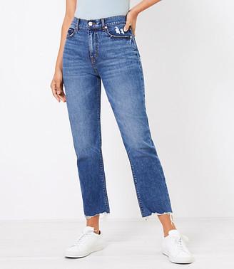 LOFT The Curvy Fresh Cut High Waist Straight Crop Jean in Authentic Dark Indigo Wash