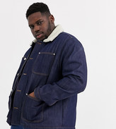 Jack & Jones Originals four pocket denim borg collar jacket in blue