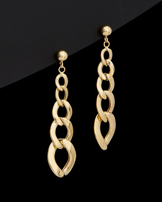 Italian Gold 14K Graduated Curb Link Drop Earrings