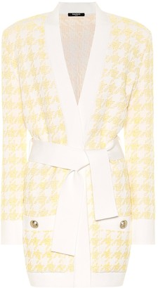 Balmain Exclusive to Mytheresa Houndstooth jacquard belted cardigan