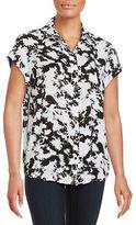 Kensie Tie-Dye Printed Short Sleeve Shirt