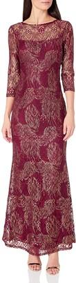 Marina Women's Foiled Metallic Lace Gown