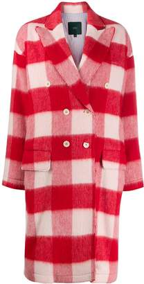 Jejia check print oversized coat