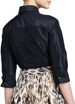Carolina Herrera Classic Silk Taffeta Blouse, Black