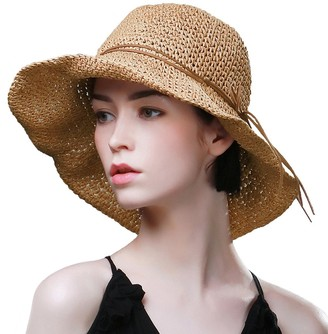 Comhats Sun Hats for Women Foldable UV Protection Large Wide Brimmed Floppy Panama Style Straw Beach Hat Fashionable Fedora Adjustable Beige M/L 57CM