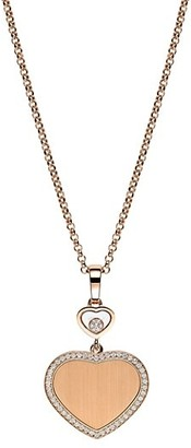 Chopard x 007 Happy Hearts - Golden Hearts 18K Rose Gold & Diamond Pave Limited Edition Pendant Necklace
