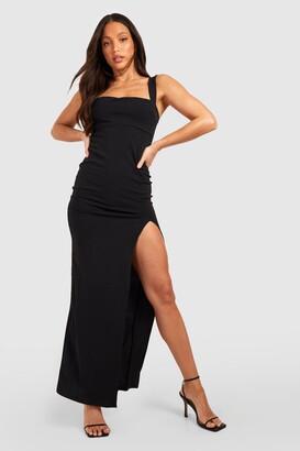 boohoo Tall Square Neck Side Split Maxi Dress