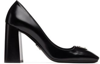 Prada Black Leather Logo Block Heels