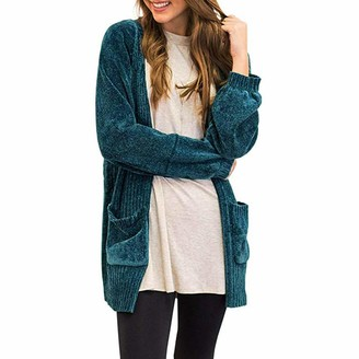 Ashui Women's Cardigans Sweater Soft Velvet Chenille Long Sleeve Open Front Pockets Trench Jumper Long Coat Parka Outwear Green